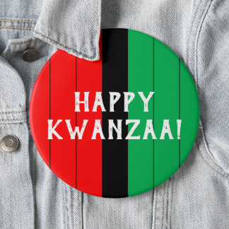 Kwanzaa Red Black Green Kinara Striped Pattern 6 Inch Round Button