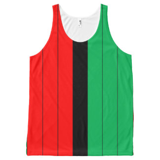 Kwanzaa Red Black Green Kinara Striped Pattern All-Over-Print Tank Top