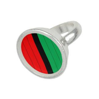 Kwanzaa Red Black Green Kinara Striped Pattern Ring