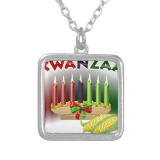 Kwanzaa Sign Silver Plated Necklace