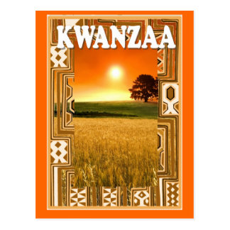 Kwanzaa - sunset and cornfields postcard