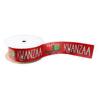 Kwanzaa with Lit Kinara Candles on Red Satin Ribbon