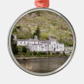 Kylemore Abbey Castle in Ireland Silver-Colored Round Ornament