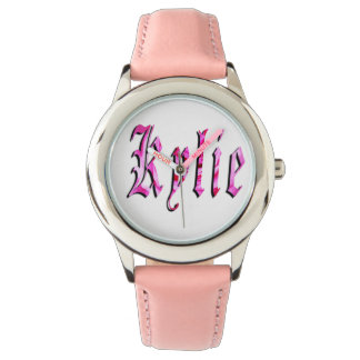 Kylie, Name,  Logo, Girls Pink Leather Watch. Watch