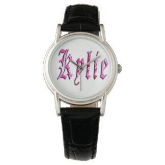 Kylie, Name,  Logo, Ladies Black Leather Watch. Watch