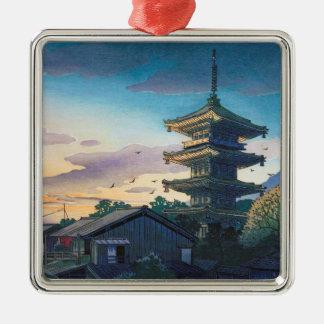 Kyoraku attractions Nomura Yasaka pagoda sunshine Silver-Colored Square Ornament