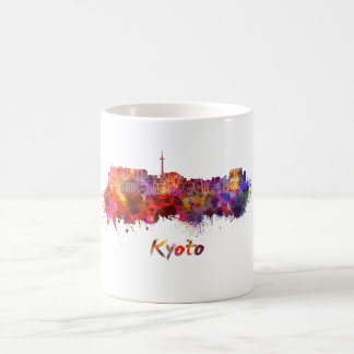Kyoto skyline in watercolor coffee mug