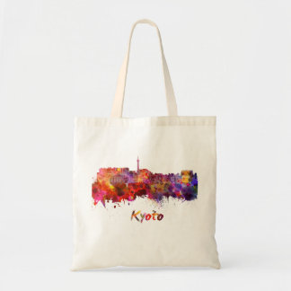 Kyoto skyline in watercolor tote bag
