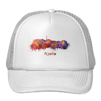 Kyoto skyline in watercolor trucker hat