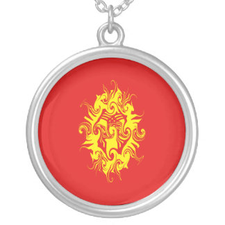 Kyrgyzstan Gnarly Flag Round Pendant Necklace