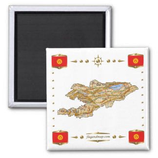Kyrgyzstan Map + Flags Magnet