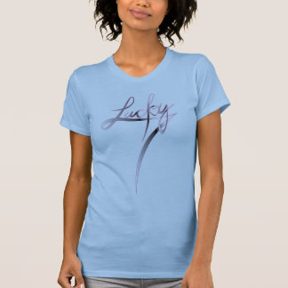 L 2012-350-1 Ladies Beater Lucky Script T-Shirt