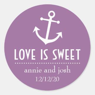 L amour d ancre de bateau est les étiquettes doux adhésif rond