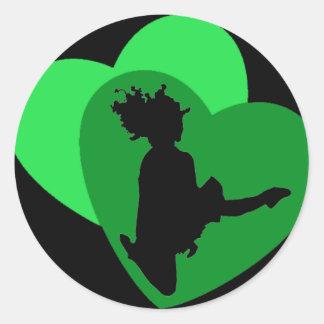L amour de la danse d Irlandais - noir Adhésif Rond