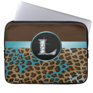"L ""Diamond"" Brown Teal Leopard & Ribbon Laptop Sleeve"