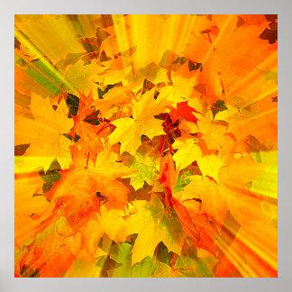 L éclat de couleur de l automne laisse des couleur posters