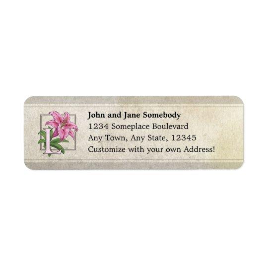 L for Lily Flower Monogram Return Address Label
