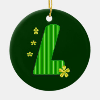 l green monogram ceramic ornament