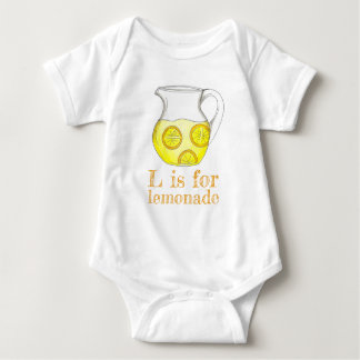 L is for Lemonade Lemon Ade Yellow Citrus Fruit Baby Bodysuit