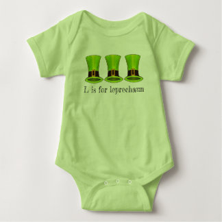 L is for Leprechaun Green Tophat St. Patrick's Day Baby Bodysuit