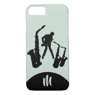 L Jazz Sax Black Saxophonist Monogram Iphone Case