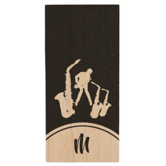 L Jazz Sax White Saxophonist Monogram B USB Flash Wood USB Flash Drive