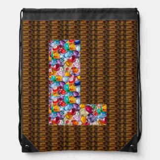 l ll lll alpha initial name Birthday HappyBirthday Drawstring Bags