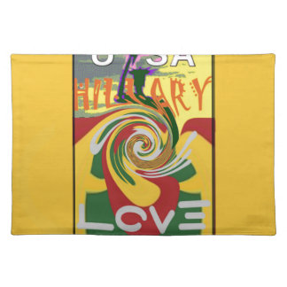 l Love Hillary USA President Stronger Together red Place Mats