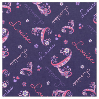 L monogram and personalized name Louisa fabric