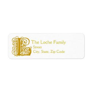 """L Monogram """"Gold Lace"""" design Address Lables"""