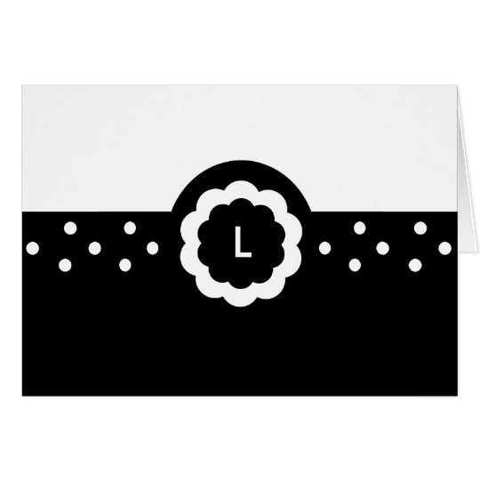 L :: Monogram L Dotted Black & White Note Card