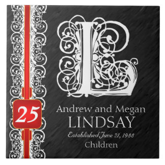 "L Monogram ""White Lace on Black"" Anniversary Tile"