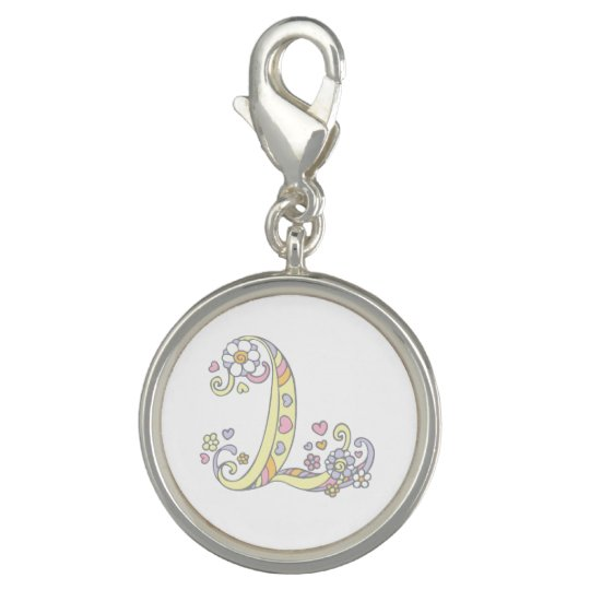 L monogrammed letter art pink yellow charm