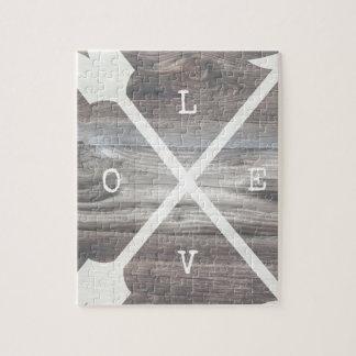 L-O-V-E Arrows Wood Jigsaw Puzzle