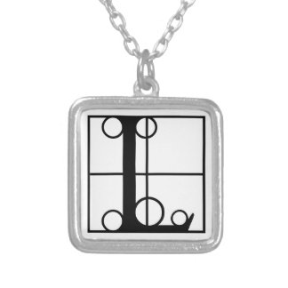 L- Typography Initial Square Pendant Necklace