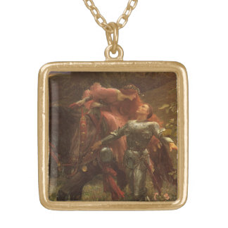 La Belle Dame sans Merci by Sir Frank Dicksee Gold Plated Necklace