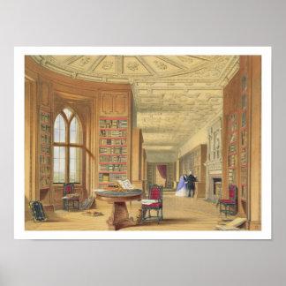 La bibliothèque, château de Windsor, 1838 (litho d Poster
