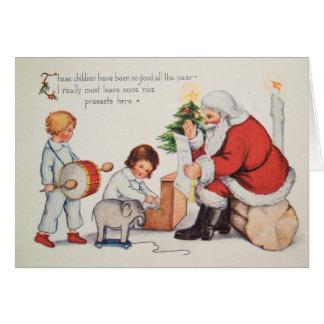 La carte de Noël vintage W Père Noël, le