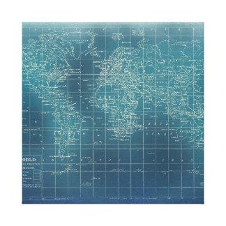 La carte du monde - édition turquoise grunge toile