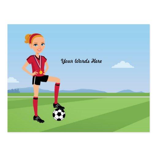 La carte postale illustrée par football de la fill