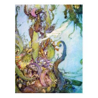 La carte postale vintage d art de petite sirène