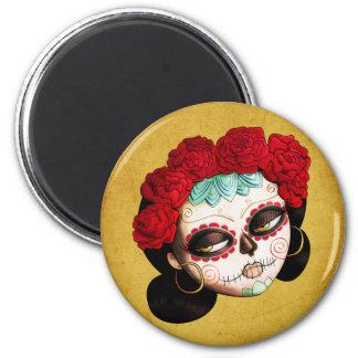 La Catrina - Dia de Los Muertos Girl 2 Inch Round Magnet