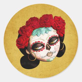 La Catrina - Dia de Los Muertos Girl Round Sticker