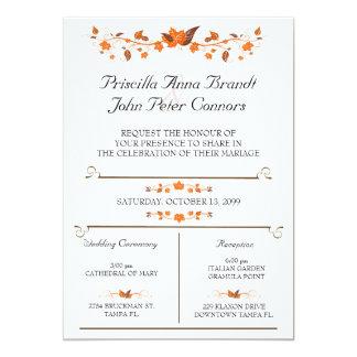 La cérémonie de faire-part de mariage, automne