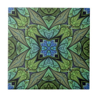 La Chanteuse V Green and Blue Abstract Pattern Tile