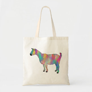 La chèvre multicolore avec la peinture éclabousse tote bag