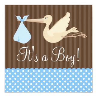 La cigogne de Brown bleu pointille le baby shower Carton D'invitation 13,33 Cm