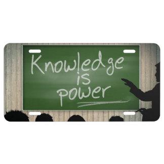 La connaissance est puissance plaque d'immatriculation