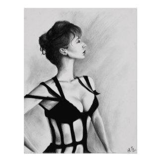 La copie de photo de dame Original Art Portrait