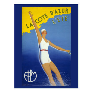 La Cote d'Azur l'ete Vintage Poster Restored Postcard